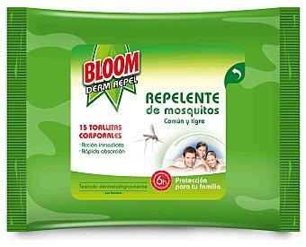 Bloom Toallitas repelentes de mosquitos común y tigre Derm Repel paquete 15 unidades