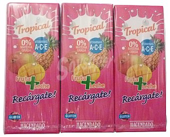 Hacendado Frutas+leche tropical (brick rosa) Pack 6 x 200 cc - 1200 cc