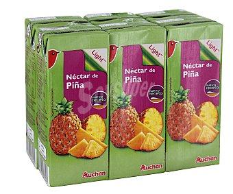 Auchan Néctar sin azúcar añadido de piña Brick de 20 centilitros pack de 6