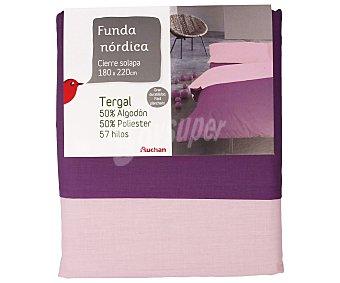 Auchan Funda nórdica color morado bicolor para cama de 105 centimetros 1 unidad