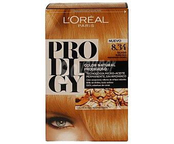 Prodigy L'Oréal Paris Tinte Ocaso Rubio claro suavemente dorado nº 8.34 color natural prodigioso caja 1 unidad tecnología micro-aceite permanente sin amoniaco Caja 1 unidad
