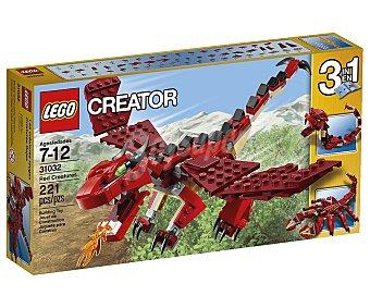 LEGO Juego de construcciones 3 en 1 Creator, Criaturas rojas, 221 piezas, modelo 31032 1 unidad