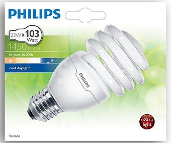 Philips Bombilla bajo consumo espiral 23W, casquillo E27 (grueso), luz fría Tornado 1 unidad