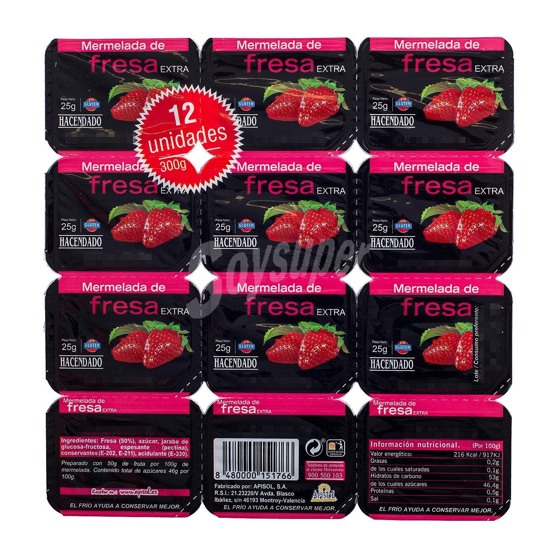 Hacendado Mermelada fresa 12 tarrinas de 25 g - 300 g