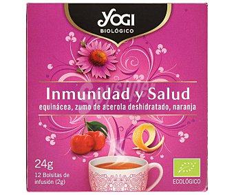 Yogi Tea Infusión ecológica inmunidad y salud (equinácea, zumo de acerola deshidratada y naranja) 12 bolsitas. 24 g
