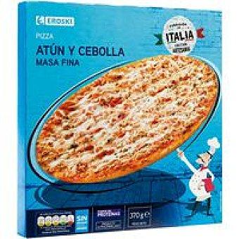 Eroski Pizza masa fina de atún-cebolla Caja 370 g