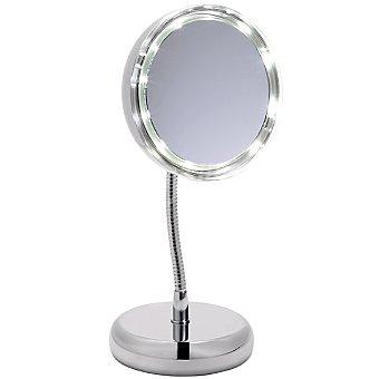 CASACTUAL Espejo de pie redondo con luz en color cromo