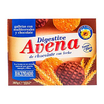 Hacendado Galleta digestive avena chocolate 2 tubos, 385 g