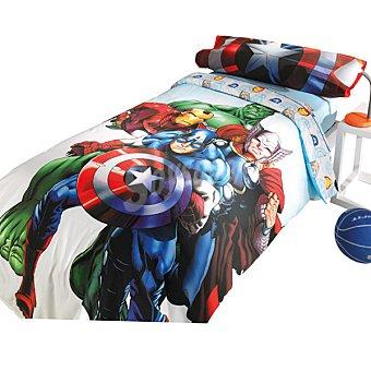 MARVEL AVENGERS Juego de sábanas con dibujos pequeños de las caras de los héroes para cama 90 cm