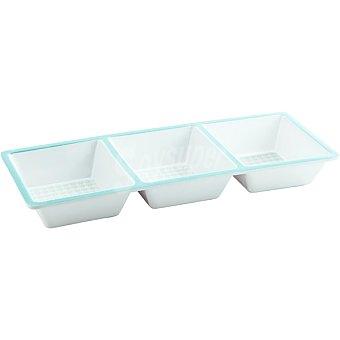 LUMINARC Aqua Bandeja de aperitivos con 3 compartimentos en colores azul y verde