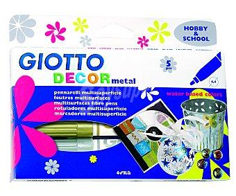 Giotto Caja de 5 rotuladores multisuperficie, de colores metálicos, con punta pincel y grosor de trazado de 4 milímetros 1 unidad