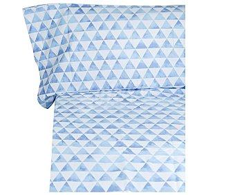 Auchan Juego de funda para edredón nórdico más funda de almohada estampado triángulos azules, tergal 50 % algodón, 105cm., AUCHAN.
