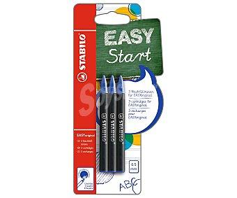 Stabilo Set de 6 recambios de punta fina con grosor de escritura de 0.5 milímetros y tinta líquida azul, para bolígrafos Easy start 1 unidad