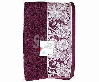AUCHAN Toalla de algodón para ducha, estamapado jacquard color morado, 70 x140 centímetros 1 Unidad