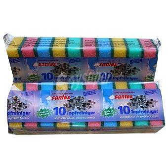 Santex Estropajo fibra con esponja de colores Paquete 10 unidades
