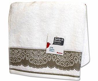 AUCHAN Toalla de algodón para lavabo, estamapado jacquard color blanco, 50 x100 centímetros 1 Unidad