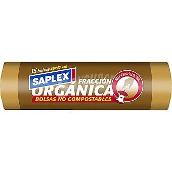 Saplex Bolsas de basura naranja 45 x 47 organica bolsa 15 unidades Bolsa 15 unidades
