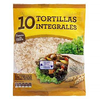 Hacendado Tortillas mejicanas trigo integrales (para hacer burritos, fajitas, wraps, base para pizzas...) Paquete 360 g (10 u)