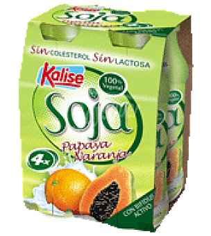 Kalise Soja bebible naranja y papaya Pack de 4ud de 175gr