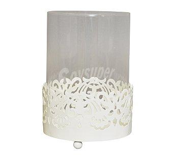 GÓTICA Portavela con copa con acabado en imitación a forja de diseño clásico color blanco, 10 centímetros de diámetro y 14.5 alto 1 Unidad
