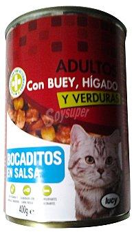 Lucy Comida gato adultos bocaditos salsa buey higado Lata 400 g