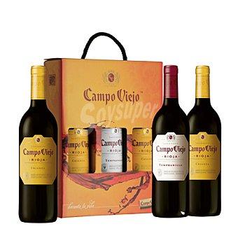 Campo Viejo Estuche con 2 botellas de vino D.O. Rioja tinto crianza + 1 botella de vino D.O. Rioja tinto tempranillo pack 3x75 cl