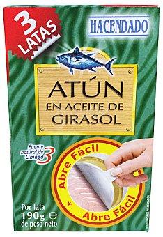 Hacendado Atun en aceite girasol (abre fácil solapin) Lata 190 g escurrido