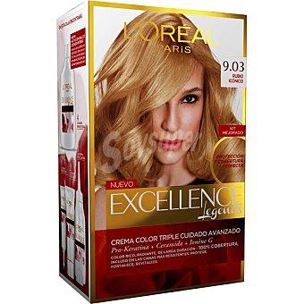 Excellence L'Oréal Paris Tinte Rubio Iconico nº 9.03 crema color triple cuidado caja 1 unidad con Pro-keratina + Ceramida + Ionene G Caja 1 unidad