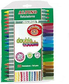 Alpino Caja de 20 rotuladores con dos puntas, 1 gruesa y 1 media, superlavables y de diferentes colores 1 unidad