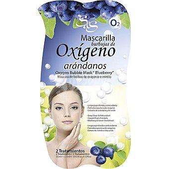 Sys Mascarilla facial burbujas de Oxígeno con extracto de Arándano y Té Verde limpieza profunda y antioxidante Envase 7 ml