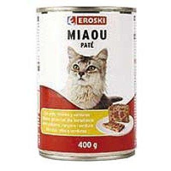 Eroski Alimento de paté con pollo Miaow Lata 400 g
