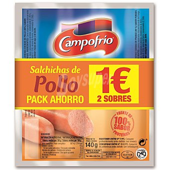 Campofrío Salchichas de pollo Pack 2 x 140 gr