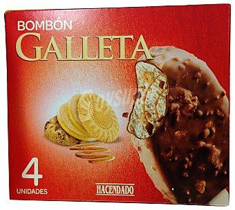 HACENDADO Helado palo bombón galleta con cobertura de chocolate y trozos de galleta Caja 4 unidades