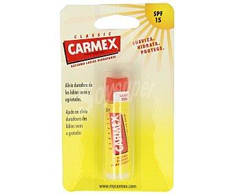 CARMEX Bálsamo labial hidratante (suaviza, hidrata y protege) con protector solar factor 15 1 unidad