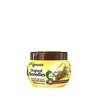 ORIGINAL REMEDIES Mascarilla nutrición intensa antiencrespamiento con aceite de aguacate y manteca de karité para cabello rebelde y difícil de controlar Tarro de 300 ml