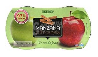 Hacendado Postre fruta manzana con canela tarritos refrigerados Pack 2 x 130 g - 260 g