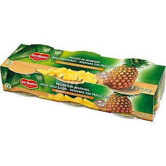 DEL MONTE Piña troceada pack 3x140 g