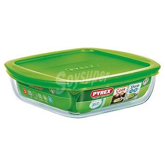 PYREX Cook & Store Fuente de cristal cuadrada con tapa en color verde 20 cm 1 Unidad