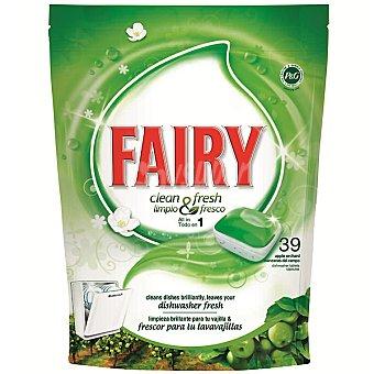 Fairy Limpio & fresco detergente lavavajillas Fresh Manzana todo en 1 envase 39 pastillas 1 envase 39 pastillas