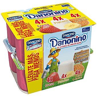 Danonino Danone Petit suisse 4 fresa + 4 plátano + 4 sabor galleta Pack 12 unidades 55 g