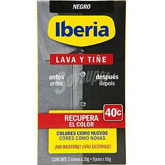 Iberia Tinte para ropa lava y tiñe recupera el color negro Bote 1 unidad