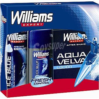 Williams Espuma de afeitar Ice Blue spray 200 ml + loción after shave Aqua Velva frasco 200 ml + desodorante Ice Blue stick 75 ml Spray 200 ml