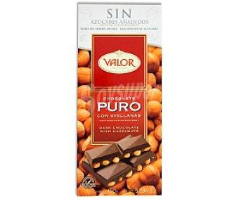 Valor Chocolate puro con avellanas, sin azúcares (contiene los azúcares naturalmente presentes) Tableta de 150 gramos