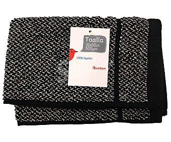 Auchan Toalla de hilo tintado color negro, estampado jacquard, 500 gramos/m², 30x50 centímetros 1 Unidad