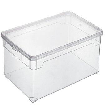 Carrefour Home Caja con tapa de Plástico Basic 30 Litros - Transparente 1 ud