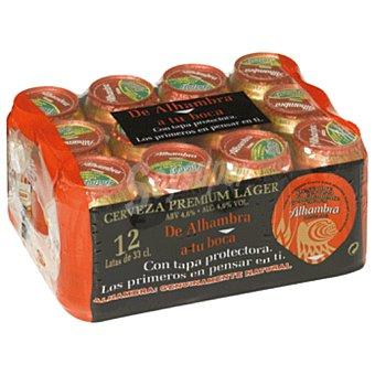 ALHAMBRA cerveza premium lager  pack 12 latas 33 cl