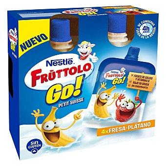 Fruttolo Nestlé Petit suisse líquido fresa y plátano 4 unidades de 80 g