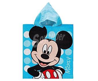 Auchan Toalla poncho infantil de playa con estampado diseño Mickey Mouse de Disney, 50x115 centímetros, tejido velour con densidad de 300 gramos/m² 1 unidad