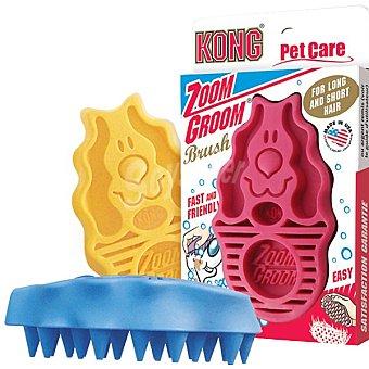 KONG ZOOMGROOM DOG Cepillo de goma duro para el baño del perro colores surtidos 1 unidad