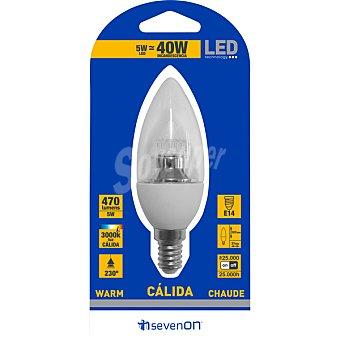 SEVENON 5 W (50 W) lampara LED vela clara luz calida casquillo E14